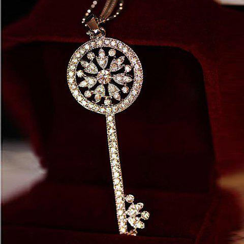 Latest One Piece of Chic Heart Rhinestone Key Pendant Sweater Chain Necklace For Women - RANDOM COLOR PATTERN  Mobile