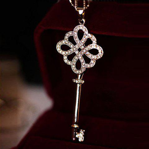 Affordable One Piece of Chic Heart Rhinestone Key Pendant Sweater Chain Necklace For Women - RANDOM COLOR PATTERN  Mobile