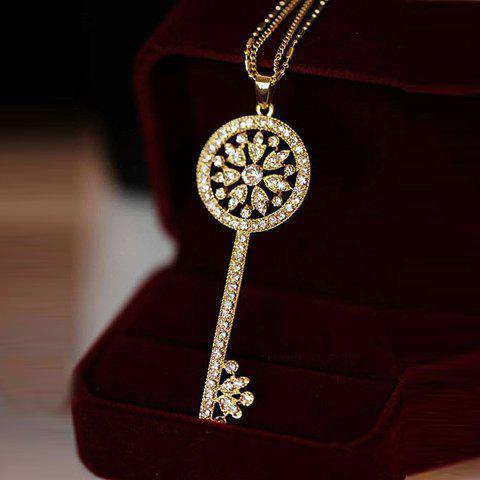 Chic One Piece of Chic Heart Rhinestone Key Pendant Sweater Chain Necklace For Women - RANDOM COLOR PATTERN  Mobile