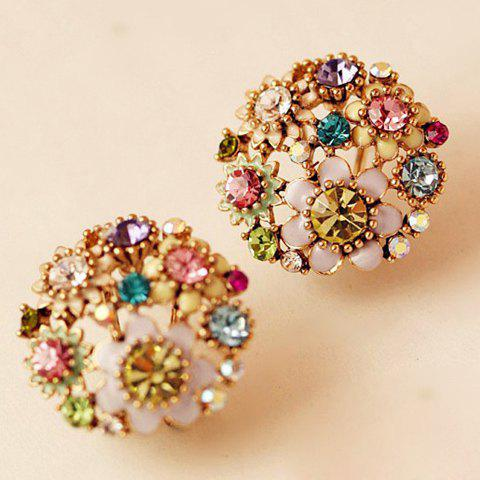 Fashion Pair of Rhinestone Flower Stud Earrings AS THE PICTURE