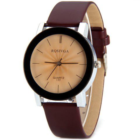 Online Rosivga 177 Genuine Quartz Watch with Stripes Indicate and Leather Watchband for Women