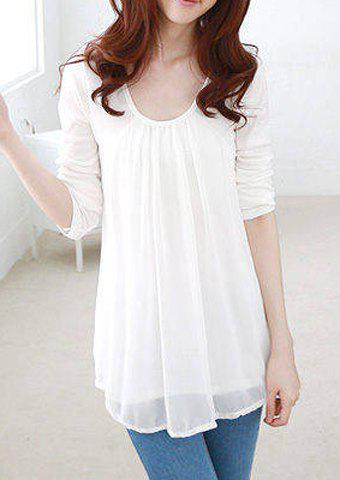 Latest Casual Style Scoop Collar Chiffon Splicing Long Sleeve Women's T-Shirt - L WHITE Mobile