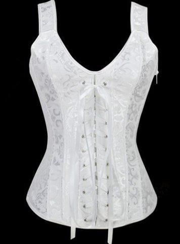 Outfit V-Neck Lace Up Corset - L WHITE Mobile