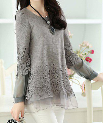Sale Long Sleeve Lace Embellished Solid Color Skirt Hem Women's T-shirt - L GRAY Mobile