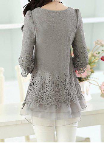 Chic Long Sleeve Lace Embellished Solid Color Skirt Hem Women's T-shirt - L GRAY Mobile