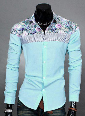 Buy Trendy Slimming Long Sleeves Turn-down Collar Colorful Floral Print Splicing Shoulders Men's Cotton Blend Shirt - 2XL LAKE BLUE Mobile