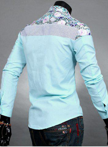 Fashion Trendy Slimming Long Sleeves Turn-down Collar Colorful Floral Print Splicing Shoulders Men's Cotton Blend Shirt - 2XL LAKE BLUE Mobile