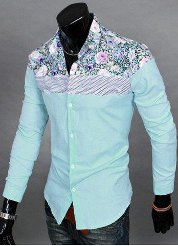 Hot Trendy Slimming Long Sleeves Turn-down Collar Colorful Floral Print Splicing Shoulders Men's Cotton Blend Shirt - 2XL LAKE BLUE Mobile
