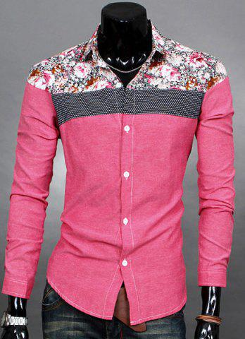 Trendy Trendy Slimming Long Sleeves Turn-down Collar Colorful Floral Print Splicing Shoulders Men's Cotton Blend Shirt - RED XL Mobile