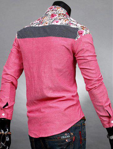 Unique Trendy Slimming Long Sleeves Turn-down Collar Colorful Floral Print Splicing Shoulders Men's Cotton Blend Shirt - RED XL Mobile