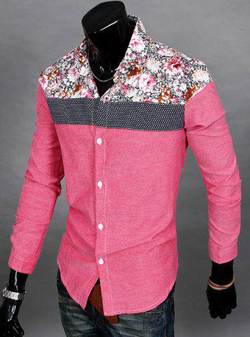 Shop Trendy Slimming Long Sleeves Turn-down Collar Colorful Floral Print Splicing Shoulders Men's Cotton Blend Shirt - RED XL Mobile