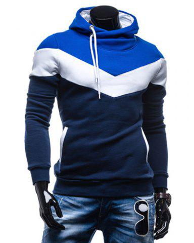 Slimming Trendy Hooded Personality Color Splicing Long Sleeves Men's Thicken Hoodies - Cadetblue - M