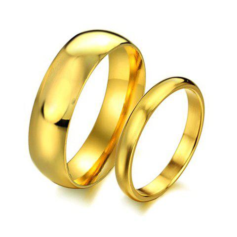 Outfits 1 Pcs Smooth Gold Lover Couple Ring - ONE SIZE MALE Mobile