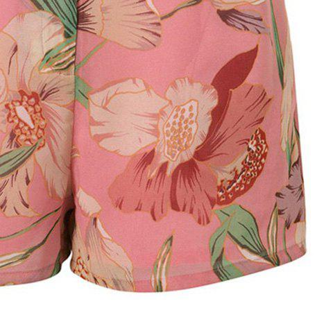 Best Vintage Floral Printed Chiffon Shorts For Women - XL CARMINE RED Mobile