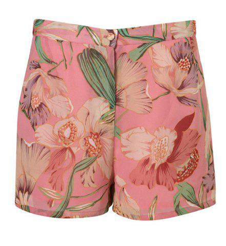 Unique Vintage Floral Printed Chiffon Shorts For Women