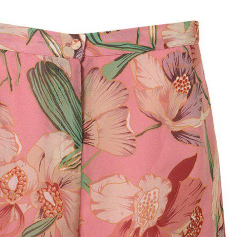 Cheap Vintage Floral Printed Chiffon Shorts For Women - XL CARMINE RED Mobile