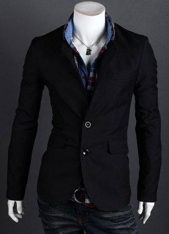Fashion Style Personality Color Block Lapel Slimming Long Sleeves Men's Cotton Blend Blazer - BLACK - M