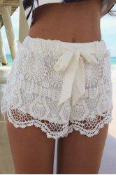 Stylish Drawstring Solid Color Lace Shorts For Women -