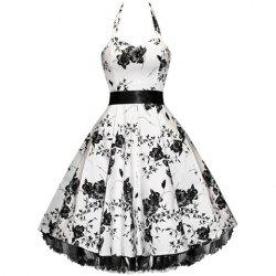 Vintage Halterneck Floral Print Sleeveless Pleated Country Western Dresses For Women -