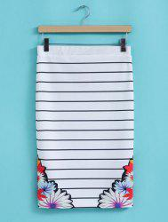 Stylish High Waisted Striped Floral Print Packet Buttock Women's Skirt -