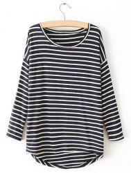 Casual Round Neck Striped Asymmetrical Long Sleeve Tops For Women -