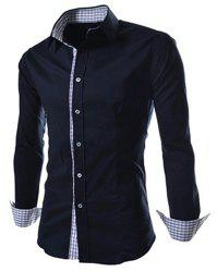 Slimming Trendy Turn-down Collar Checked Print Splicing Long Sleeves Men's Cotton Blend Shirt - BLACK
