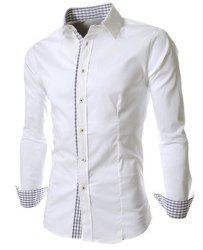 Slimming Trendy Turn-down Collar Checked Print Splicing Long Sleeves Men's Cotton Blend Shirt -