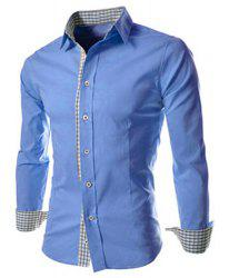 Slimming Trendy Turn-down Collar Checked Print Splicing Long Sleeves Men's Cotton Blend Shirt - BLUE