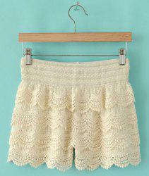 Trendy Style Elastic Waist Lace Splicing Women's Shorts -