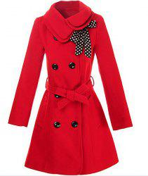 Stylish Turn-Down Collar Long Sleeve Solid Color Coat For Women - RED M