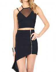 Stylish Halter Sleeveless Backless Spliced Women's Crop Top -