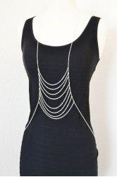Laconic Layered Link Silver Color Body Chain For Women -