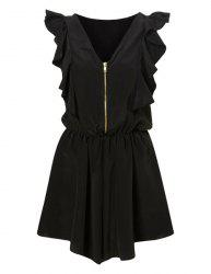 Vintage V-Neck Flounce Zippered Jumpsuits For Women -