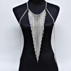 Link Tassel Layered Triangle Body Chain -