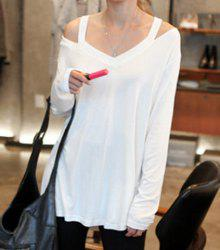 Casual Style V-Neck Off-The-Shoulder Solid Color Long Sleeve Women's T-Shirt -
