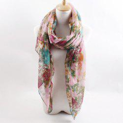 Hot Sell Floral Print Voile Scarf For Women - COLOR ASSORTED