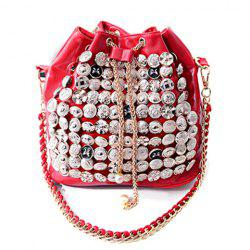 Fashion Button and Chain Design Women's Shoulder Bag -
