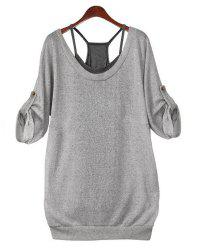 Stylish Scoop Neck Criss-Cross Backless T-Shirt Twinset For Women -