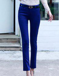 Casual Mid-Waisted Zippered Solid Color Bodycon Slimming With Belt Women's Pants -