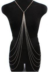 Stylish Symmetrical Design X-Shaped Multi-Layered Tassels Women's Body Chain -