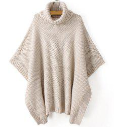 Vintage Turtleneck Batwing Sleeves Solid Color Acrylic Sweater For Women -