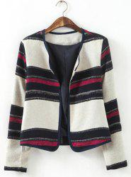 Vintage Scoop Neck Long Sleeves Striped Jacket For Women -