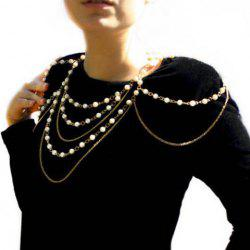 Stylish Faux Pearl Embellished Layered Women's Body Chain -