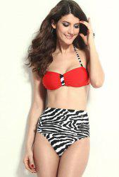 High Waisted Vintage Halterneck Zebra-Stripe Six Buttons Women's Swimsuit