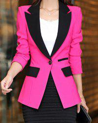 Color Block Spliced Long Sleeve Lapel One-Button Women's Blazer -
