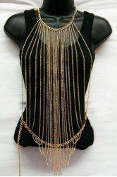 Characteristic Multi-Layered Tassels Full Body Armor Jewelry Chain For Women - GOLDEN