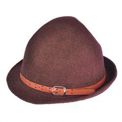 Hot Sell Solid Color Belt Buckle Decorated Wool Hat For Women -
