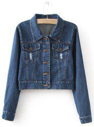 Fashionable Turn-Down Collar Solid Color Frayed Denim Women's Jacket -