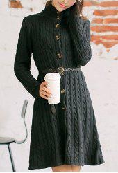 Trendy Long Sleeve Stand-Up Collar Cable-Knit Women's Dress -