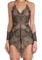 Vintage Plunging Neck Lace Voile Splicing See-Through Dress For Women -